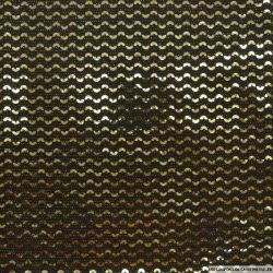 Jersey polyester pailleté demi cercle or fond noir