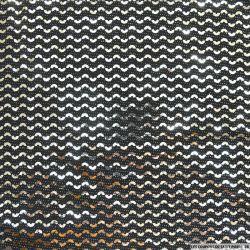 Jersey polyester pailleté demi cercle argent fond noir