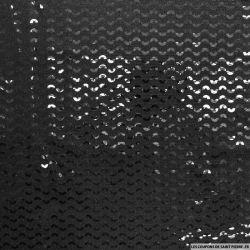 Jersey polyester pailleté demi cercle noir fond noir