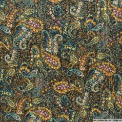 Mousseline polyester cachemire rayé fils irisés