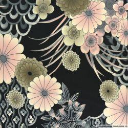 Jersey polyester imprimé fleurs roses fond noir