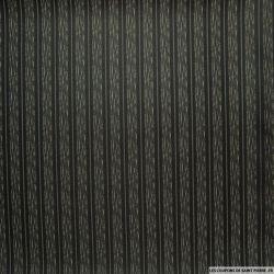 Taffetas polyester rayé gris et noir