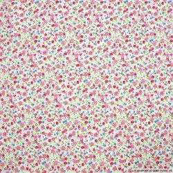 Coton imprimé petites fleurs roses sur fond blanc