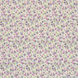 Coton imprimé petites fleurs violet sur fond blanc