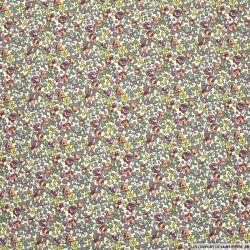 Coton imprimé petites fleurs prune et kaki fond blanc cassé