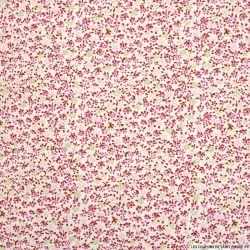 Coton imprimé fleurs fushia et beige