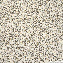 Coton imprimé fleurs marron et beige