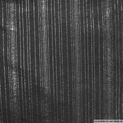Jersey polyester ajouré rayé argent fond noir