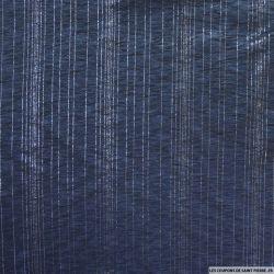 Jersey polyester ajouré rayé argent fond bleu