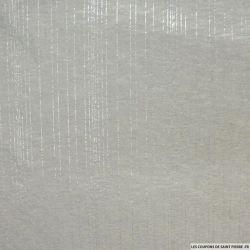 Jersey polyester ajouré rayé argent fond gris