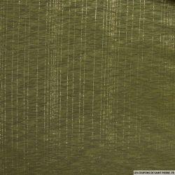 Jersey polyester ajouré rayé or fond vert