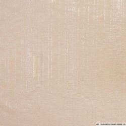 Jersey polyester ajouré rayé argent fond nude