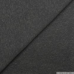 Jersey texturé noir fines rayures lurex argent