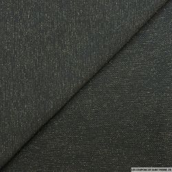 Jersey texturé noir fines rayures lurex or