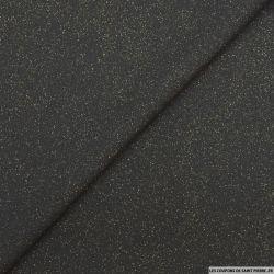Crêpe polyester noir pluie lurex or envers satin