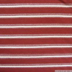 Jersey polyester rayé lurex argent fond bordeaux