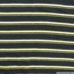 Jersey polyester rayé lurex doré fond noir
