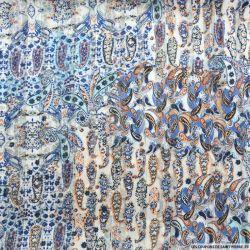 Mousseline dévorée rayures dorés cachemire bleu