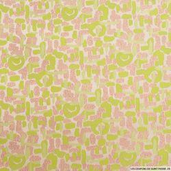 Brocart terrazzo vert et rose fils irisés