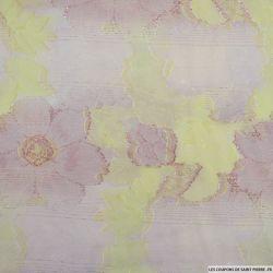 Brocart dévoré dahlia rose et jaune fils irisés rose