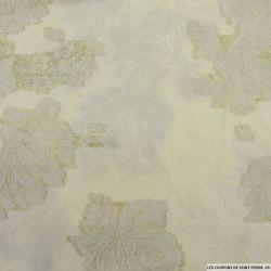 Brocart dévoré dahlia sable fils irisés or