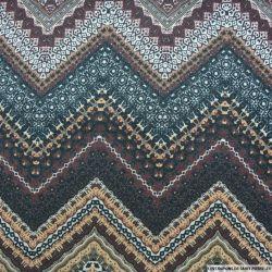 Maille fine imprimée aztèque lie de vin et ocre fil irisé argent