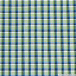 Coton chemise rayures carreaux vert et bleu