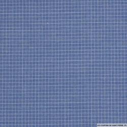 Coton chemise petits carreaux fond bleu gris