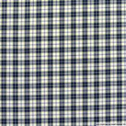 Coton chemise double carreaux marine fond blanc