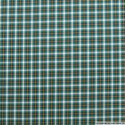 Coton chemise carreaux vert et ocre