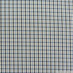 Coton chemise carreaux beige et bleu fond blanc