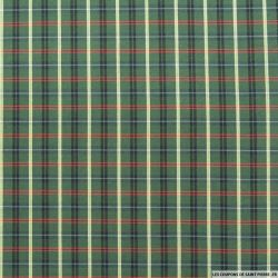 Coton chemise carreaux rouge et écru fond vert mousse