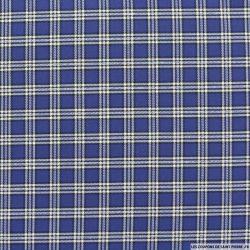 Coton chemise carreaux blanc fond bleu indigo