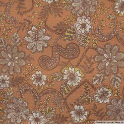 Polyester imprimé fleurs retro fond caramel