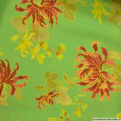 Crêpe georgette fleurs fond vert