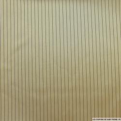 Satin polyester rayé taupe