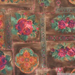 Satin polyester jardin d'automne fond marron