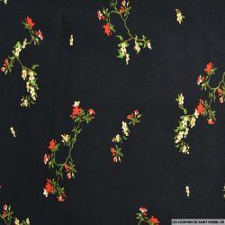 Viscose imprimée fleurs japonaises fond noir