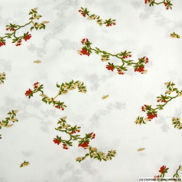 Viscose imprimée fleurs japonaises fond blanc