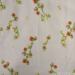Viscose imprimée fleurs japonaises fond taupe