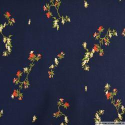 Viscose imprimée fleurs japonaises fond marine
