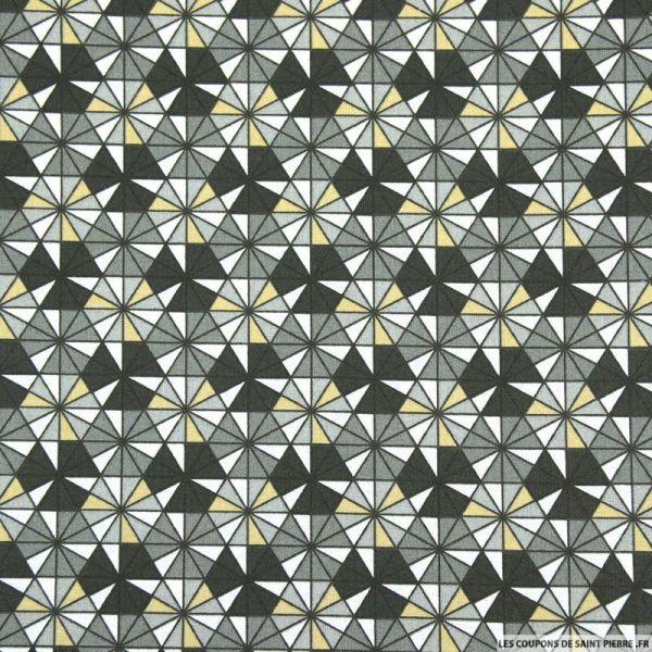 Coton imprimé kaléidoscope gris