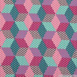 Coton imprimé hexagone canard