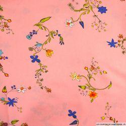 Viscose imprimée champêtre fond rose