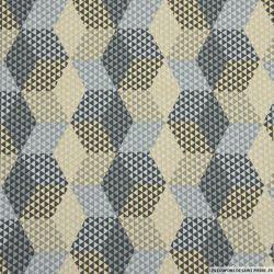 Coton imprimé hexagone gris