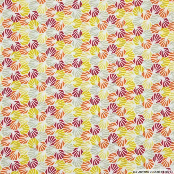 Coton imprimé nid d'abeille orange