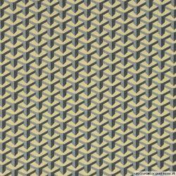 Coton imprimé perspective  gris