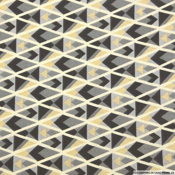 Coton imprimé triangle graphique gris