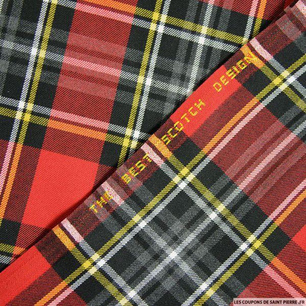 Clan écossais rouge et noir ligne jaune et blanc