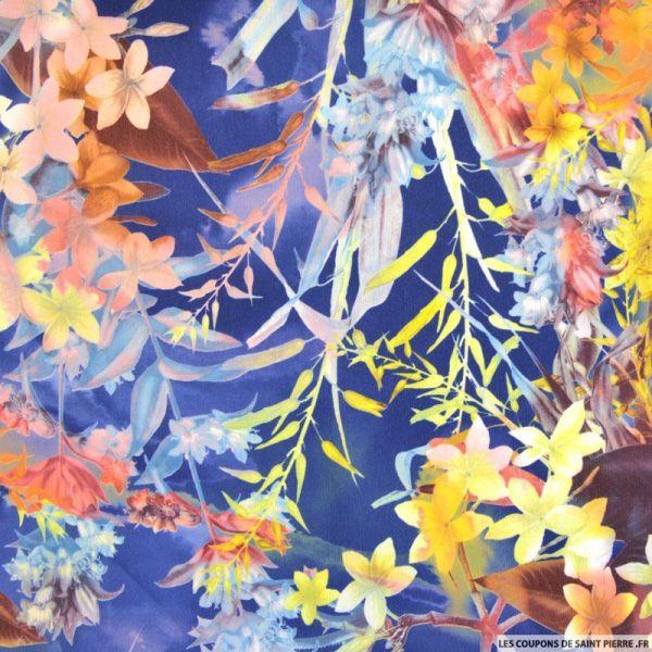 Crêpe imprimé hawai fond bleu